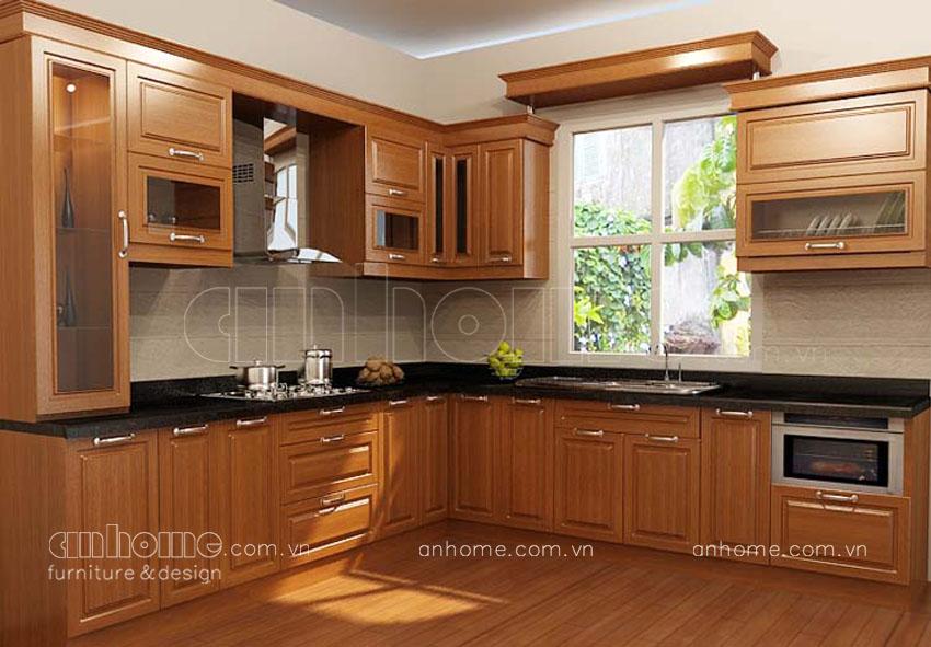 Tủ bếp góc đẹp - Mẫu tủ bếp chữ L